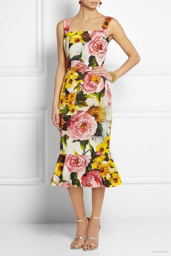 Dolce & Gabbana floral-print textured stretch-cotton dress available at Net-a-Porter