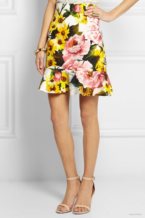 Dolce & Gabbana floral print textured stretch-cotton skirt available at Net-a-Porter
