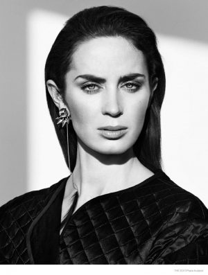 Emily Blunt Dons Monochrome Style for The Edit & Talks Fear of Singing