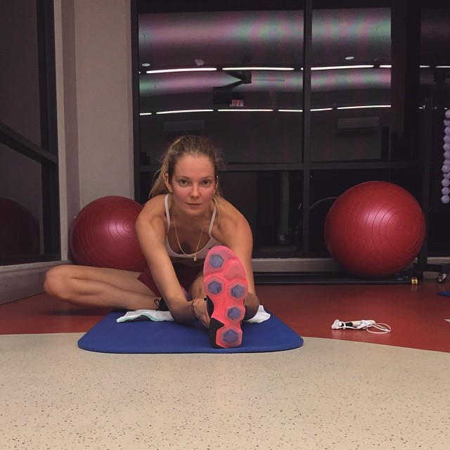 Eniko Mihalik gets a workout in