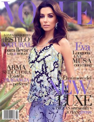 Eva Longoria Wears Mary Katrantzou on Vogue Mexico February 2015 Cover