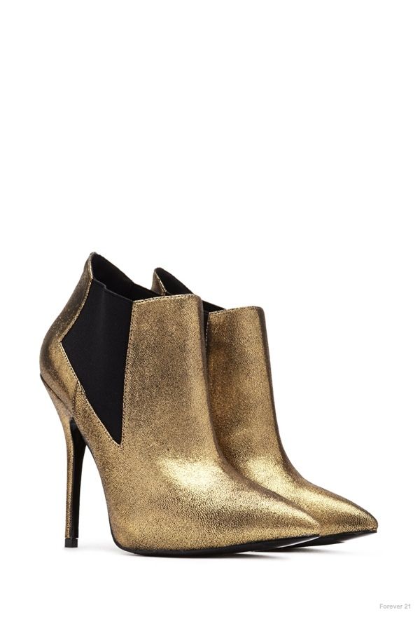 Forever 21 Pointed Metallic Booties