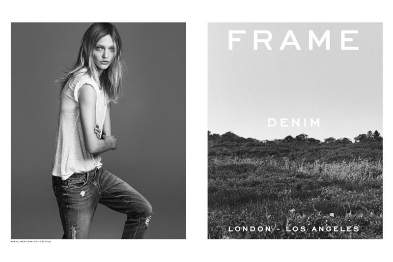 Sasha Pivovarova Keeps it Casual in Frame Denim Spring 2015 Ads