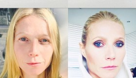 Gwyneth Paltrow was not wearing a stitch of makeup in her before photo, and showed off a nighttime look in her transformation