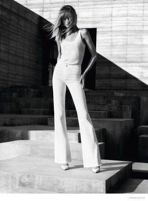 Daria Strokous Models White Denim for J Brand's Spring 2015 Ads