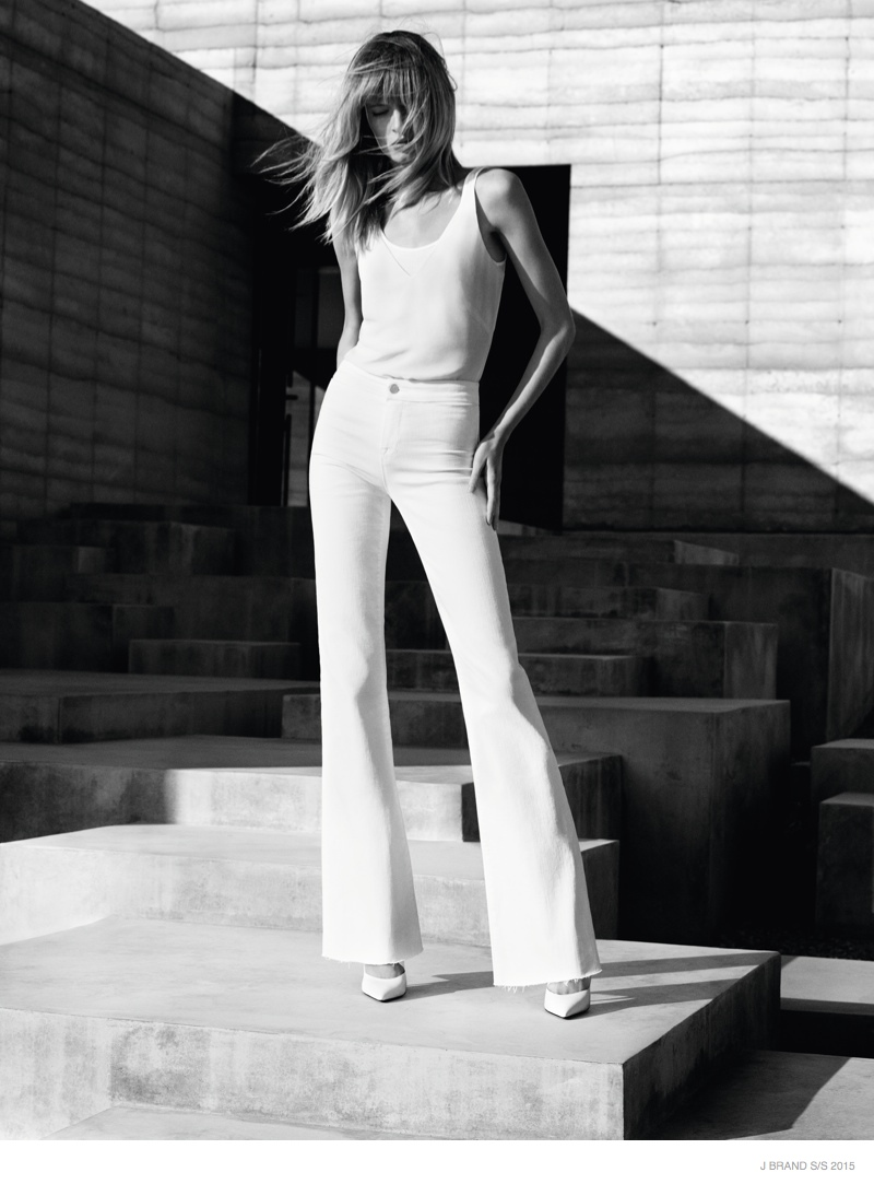 Daria Strokous Models White Denim for J Brand's Spring 2015 Ads