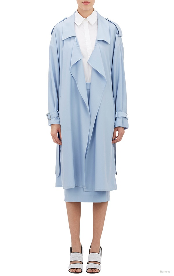 Ji Oh Twill Belted Trench Coat available for $1,200