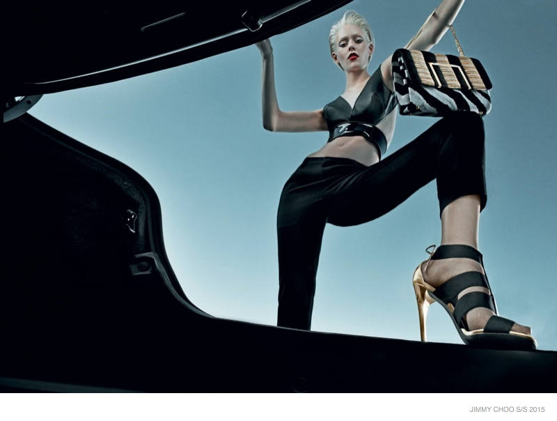 Ondria Hardin Goes Platinum Blonde in Jimmy Choo Spring 2015 Ads
