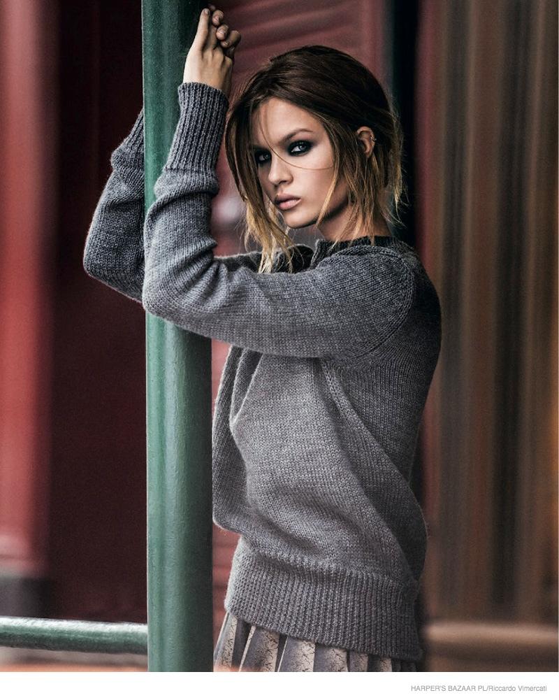 Josephine Skriver Does Winter Dressing for Harper's Bazaar Poland