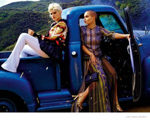 Just Cavalli Features Model with Shaved Head, Singer Soko in Spring '15 Ads