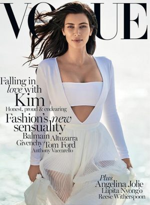 Kim Kardashian Hits the Beach for Vogue Australia February 2015 Cover