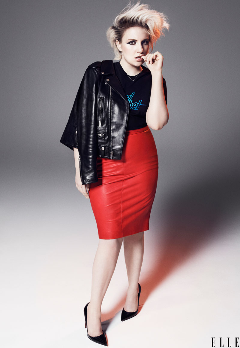 Lena Dunham Rocks Messy Hair on ELLE February 2015 Cover