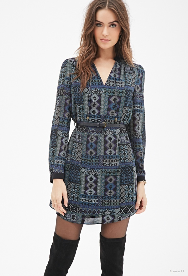 LOVE21 Belted Abstract Shift Dress