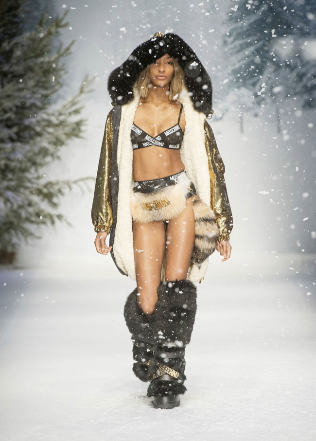 Moschino Sent Out Jourdan Dunn & Hailey Baldwin as Mountaineering Ravers for London Mens Collection