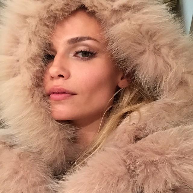 Natasha Poly rocks a luxe fur look