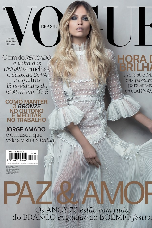 Natasha Poly Looks Ethereal in White on Vogue Brazil February Cover