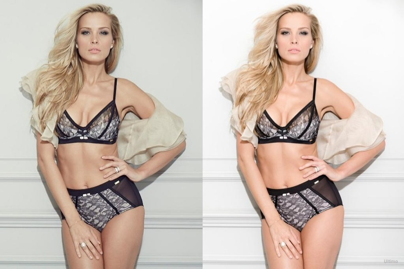(L) Unretouched version of Petra Nemcova's lingerie ad for Ultimato (R) Final version. Image Via Vogue UK