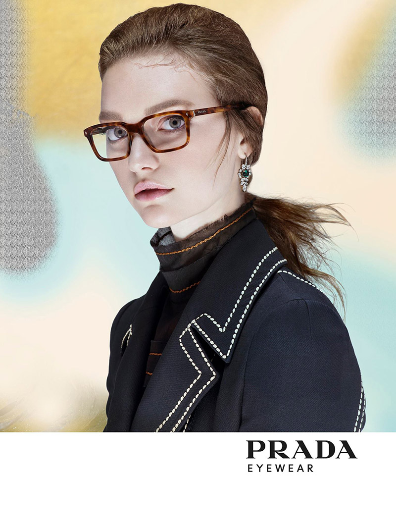 gemma ward fronts prada journal eyewear campaign