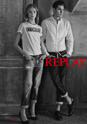 Anna Selezneva Dons Denim Looks in Replay Spring 2015 Ads
