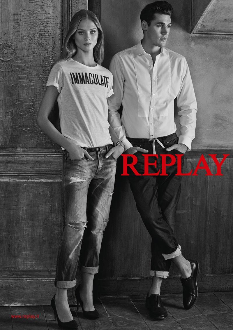 Anna Selezneva Dons Denim Looks in Replay Spring 2015 Ads