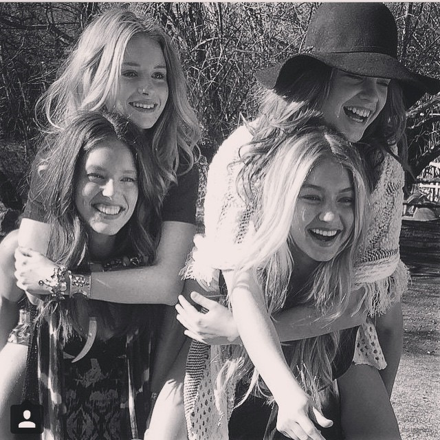 All four of Rosa Cha's winter 2015 campaign models Gigi Hadid, Emily DiDonato, Lottie Moss & Barbara Palvin