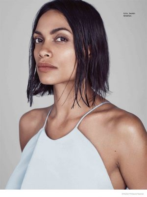 Rosario Dawson Looks Fresh Faced and Minimal in Grazia France Shoot