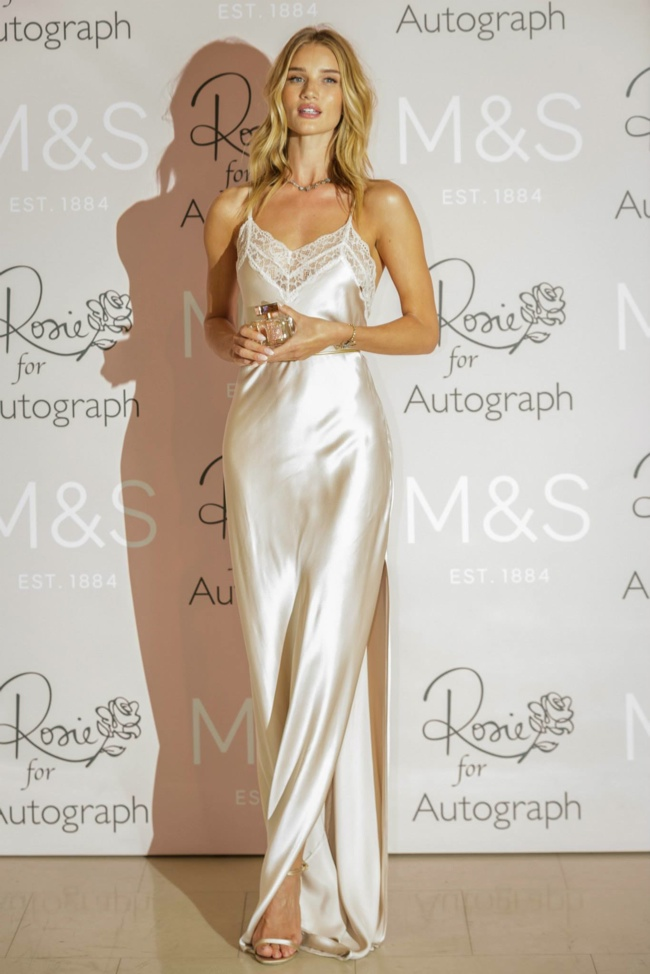 Rosie Huntington-Whiteley Stuns in Slip Dress at 'Rosie for Autograph' Fragrance Launch