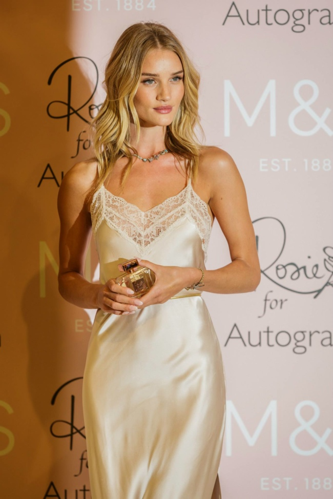 Rosie Huntington-Whiteley with a mid-length hairstyle at Marks & Spencer event in January.