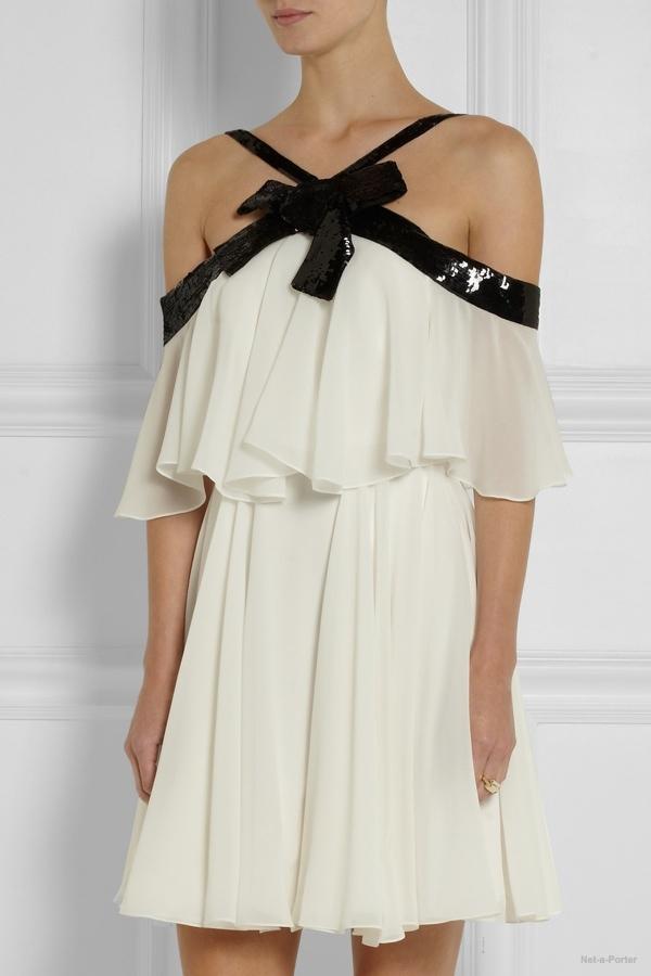 Saint Laurent sequin-embellished silk-georgette mini dres