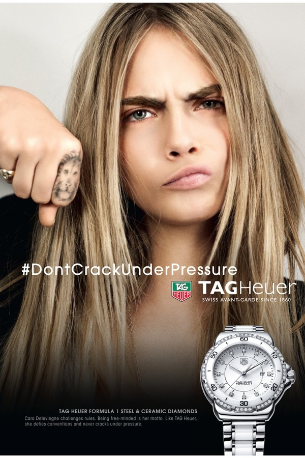 An image from Cara Delevingne's new TAG Heuer ad campaign
