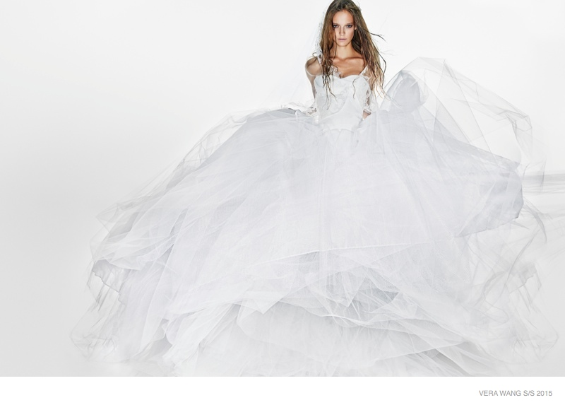 Ine Neefs Wears Dramatic Gowns for Vera Wang Spring 2015 Bridal Ads