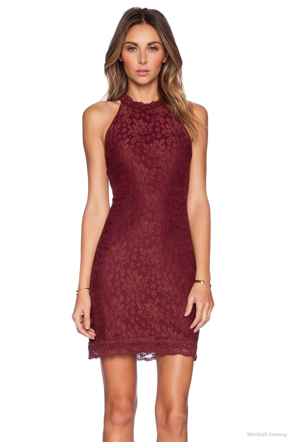 WYLDR 'Chaser' Lace Dress in Cordovan