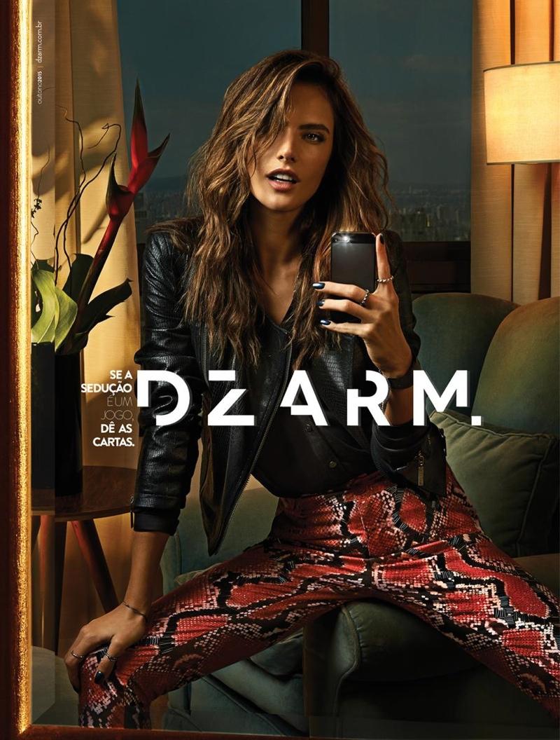 Alessandra Ambrosio Takes Glam Selfies in Dzarm's New Ads ... алессандра амбросио