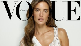 Alessandra Ambrosio looks pretty in white lace for her Vogue Turkey cover.
