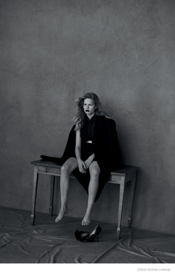 Peter Lindbergh Photographs Anna Ewers in Black & White Vogue Germany Story