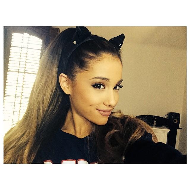 Ariana Grande wears a cat ear headband in Instagram photo from last year.