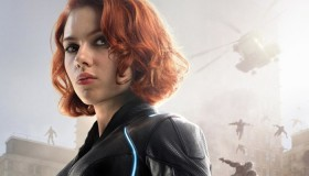 Scarlett Johansson as The Black Widow in 'Avengers: Age of Ultron' movie poster. Her suit is equipped with LED lights.