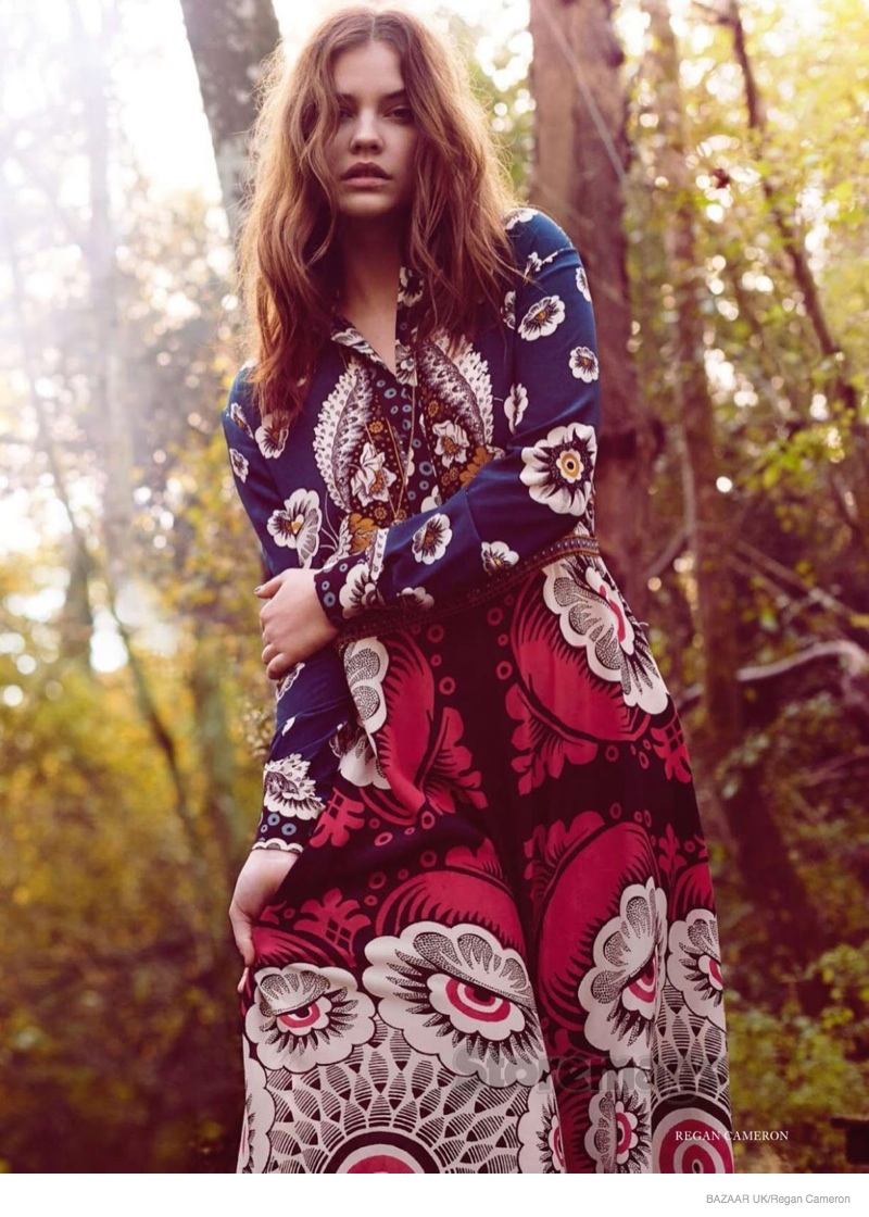 barbara palvin wears 1970s hippy inspired fashion for