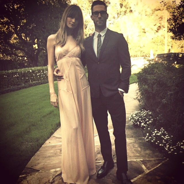 Behati Prinsloo with husband Adam Levine before the 2015 Grammys. Photo via Instagram.