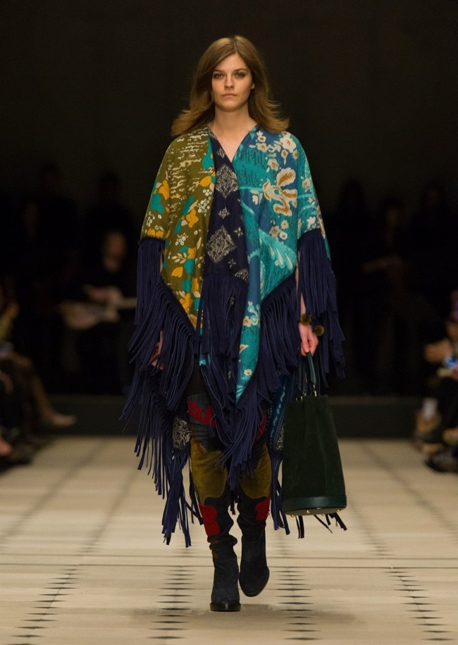 At London Fashion Week, Burberry embraced the fringe trend with a 1970s influenced outing of hippie chic looks.