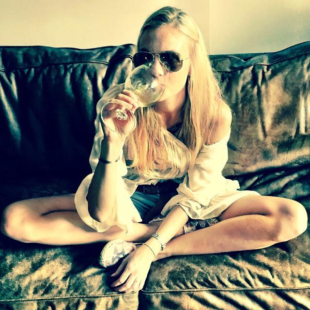 Caroline Trentini enjoys a drink