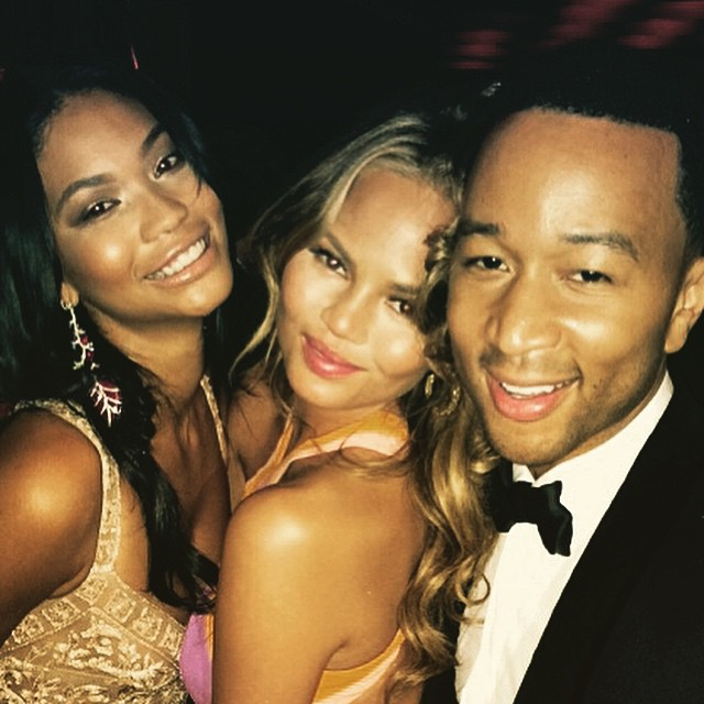 Chanel Iman, Chrissy Teigen & John Legend have fun at post-Oscars party