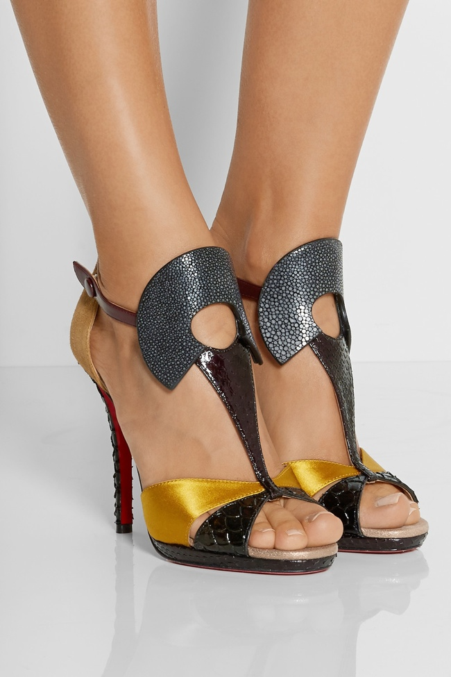 An art deco, 1920s style shines through in Christian Louboutin's Aztec 120 Leather, Satin, Stingray & Watersnake Sandals.