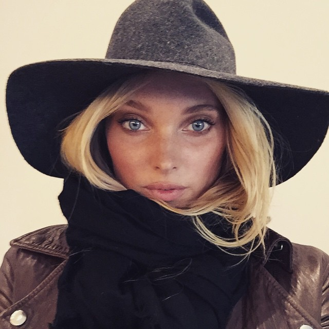 Elsa Hosk bundles up from the cold