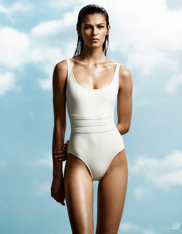 A model wears the one-piece swimsuit trend in a look from Eres