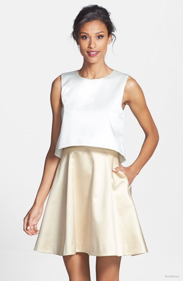 ERIN erin fetherston 'Tippy' Popover Satin Fit & Flare Dress available for $245.00