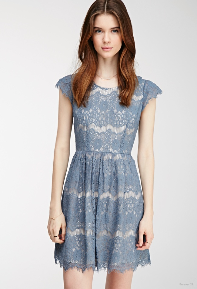Eyelash Lace Dress in Blue available for $27.90
