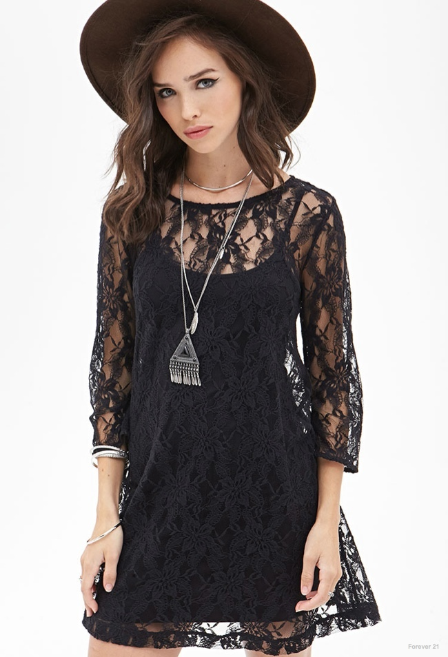 Floral Lace Shift Dress in Black available for $17.80