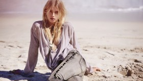 "Romantic layers and light colors are spotlighted in ""Wash Ashore"" which features model Sigrid Agren."
