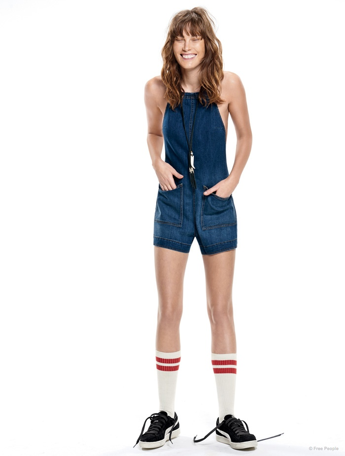"""Catherine McNeil wears high socks and a denim romper in """"Game Changer""""."""